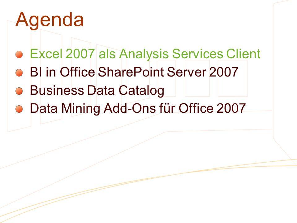 Agenda Excel 2007 als Analysis Services Client BI in Office SharePoint Server 2007 Business Data Catalog Data Mining Add-Ons für Office 2007