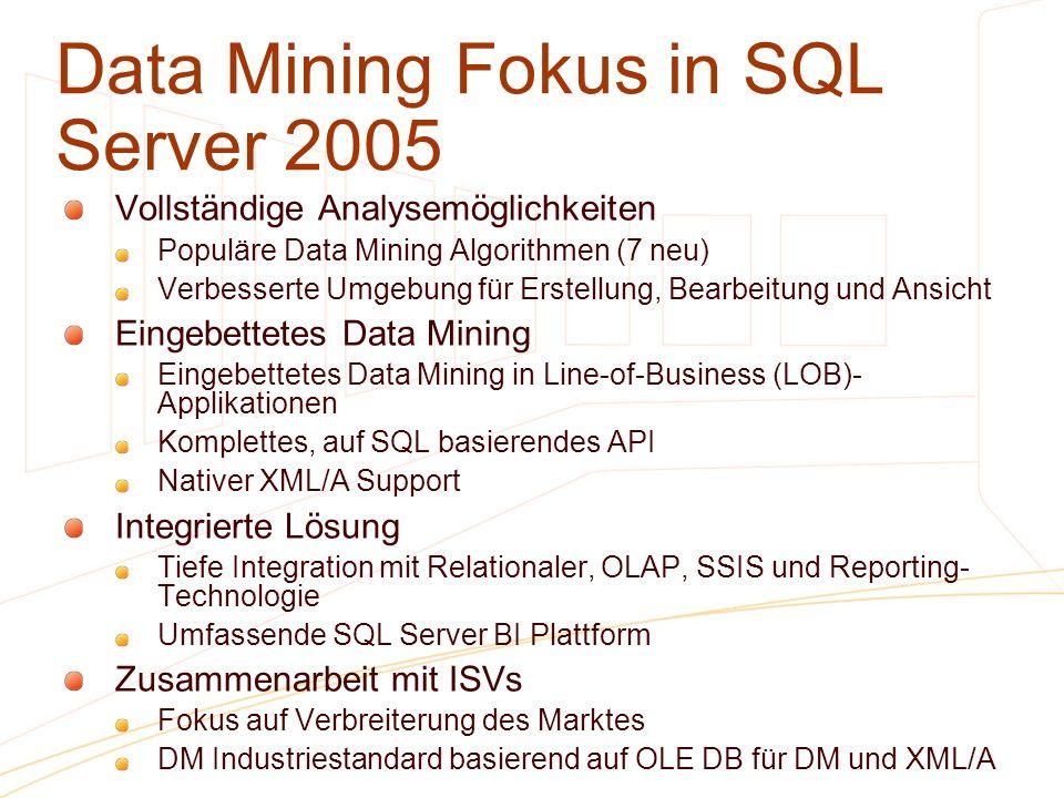 Data Mining Fokus in SQL Server 2005 Vollständige Analysemöglichkeiten Populäre Data Mining Algorithmen (7 neu) Verbesserte Umgebung für Erstellung, B