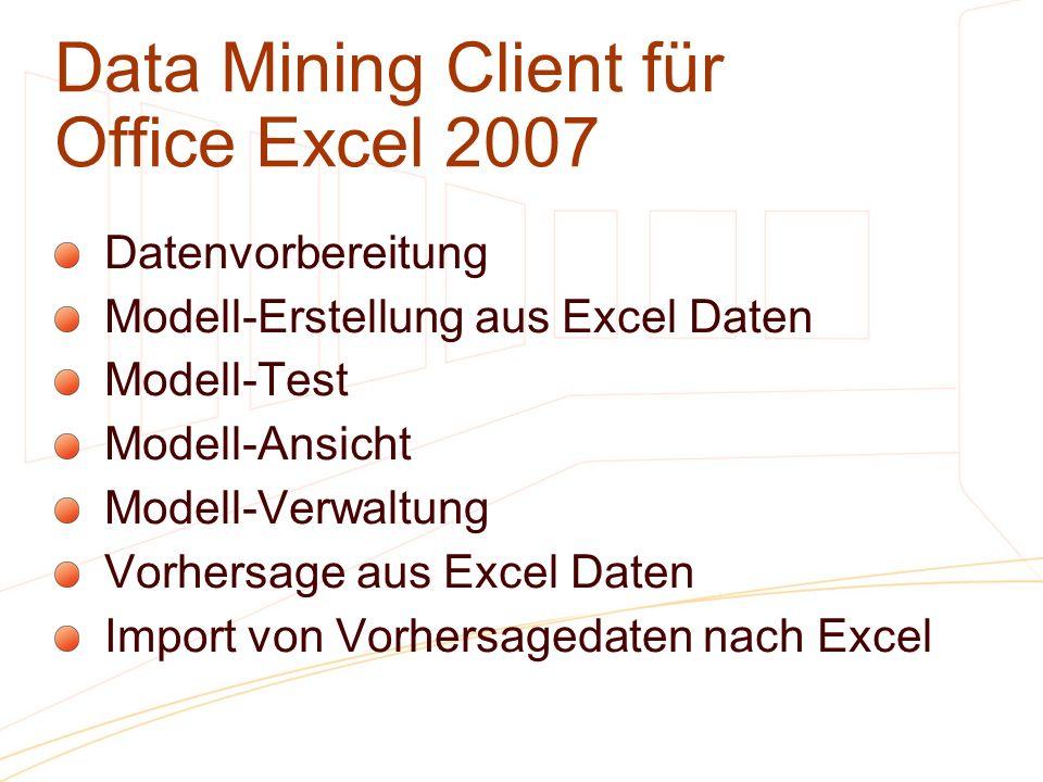 Data Mining Client für Office Excel 2007 Datenvorbereitung Modell-Erstellung aus Excel Daten Modell-Test Modell-Ansicht Modell-Verwaltung Vorhersage a