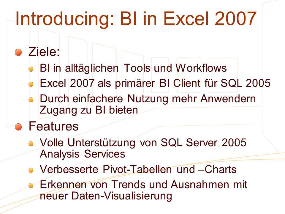 Introducing: BI in Excel 2007 Ziele: BI in alltäglichen Tools und Workflows Excel 2007 als primärer BI Client für SQL 2005 Durch einfachere Nutzung me