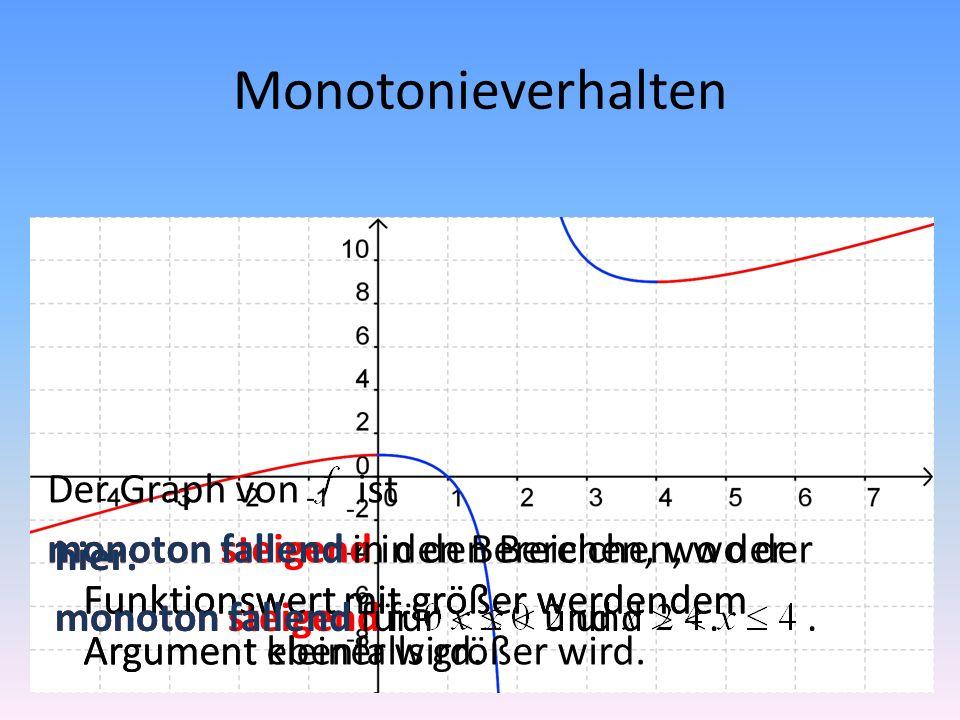 Monotonieverhalten Der Graph von ist monoton steigend in den Bereichen, wo der Funktionswert mit größer werdendem Argument ebenfalls größer wird. hier