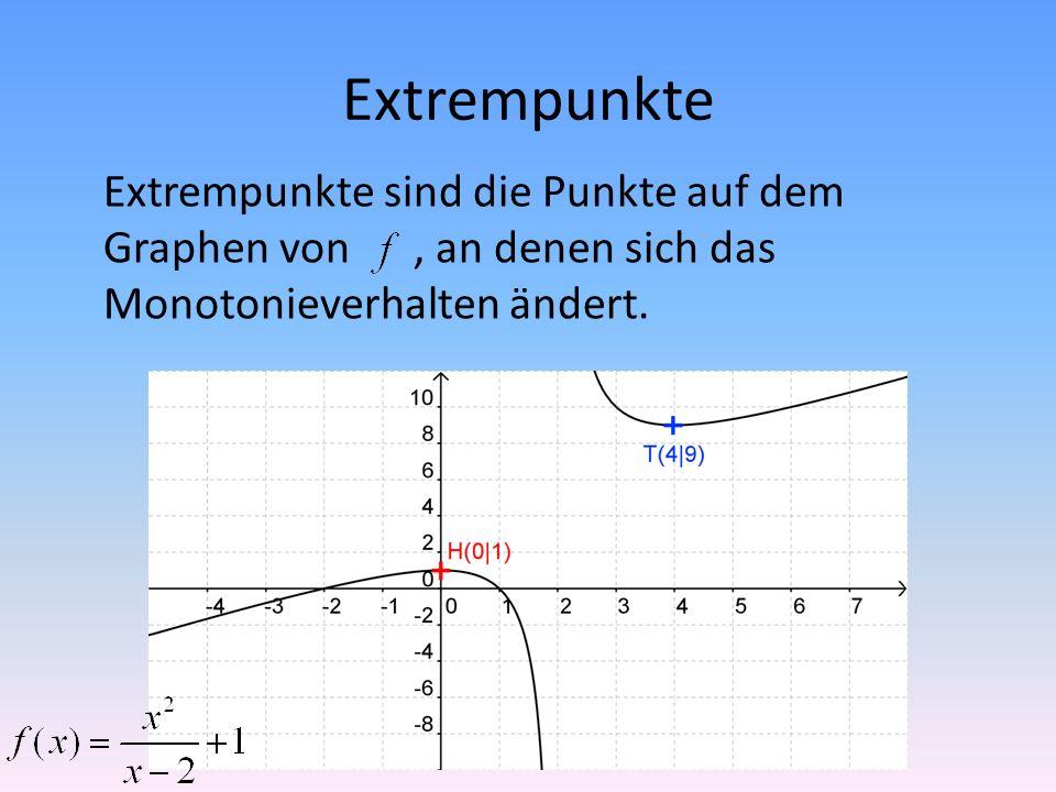 Extrempunkte Extrempunkte sind die Punkte auf dem Graphen von, an denen sich das Monotonieverhalten ändert.