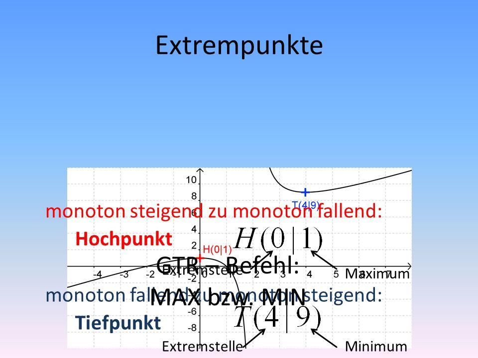 Extrempunkte monoton steigend zu monoton fallend: Hochpunkt monoton fallend zu monoton steigend: Tiefpunkt Extremstelle Maximum Minimum GTR – Befehl: