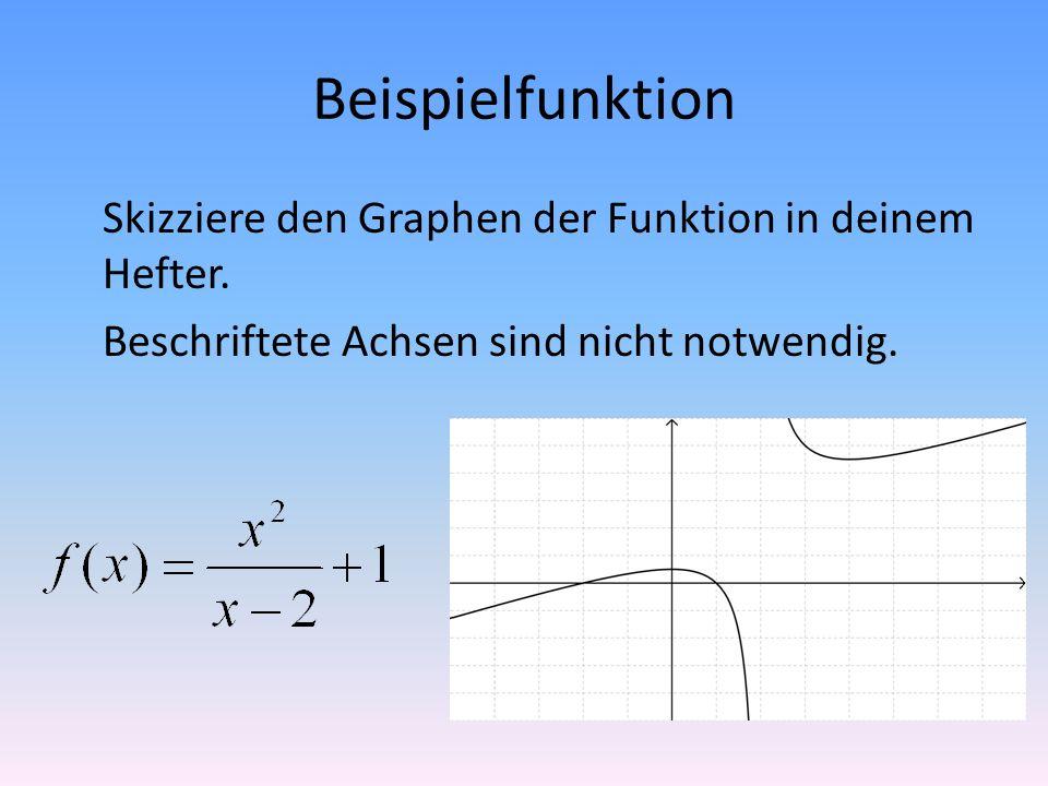 Beispielfunktion Skizziere den Graphen der Funktion in deinem Hefter. Beschriftete Achsen sind nicht notwendig.