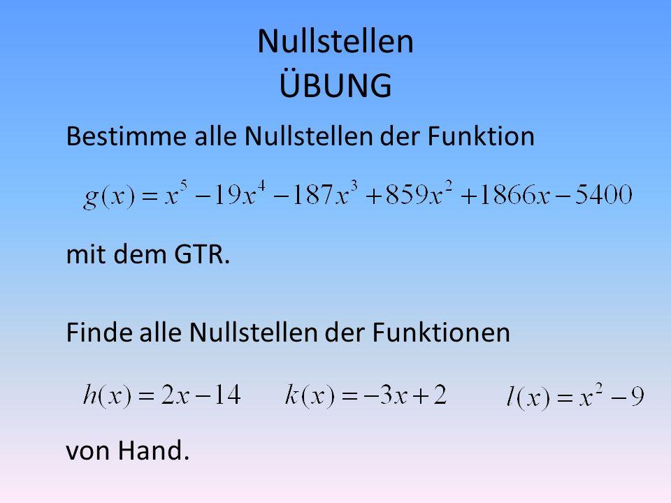 ZUSAMMENFASSUNG (Maximaler) Definitionsbereich Nullstellen Schnittpunkte mit den Koordinatenachsen Monotonie Extrempunkte Wertebereich