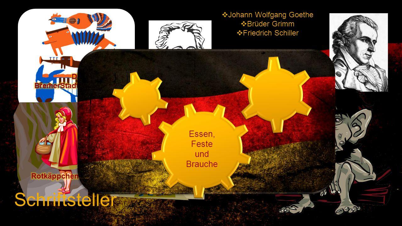 Johann Wolfgang Goethe Brüder Grimm Friedrich Schiller Schriftsteller Essen, Feste und Brauche