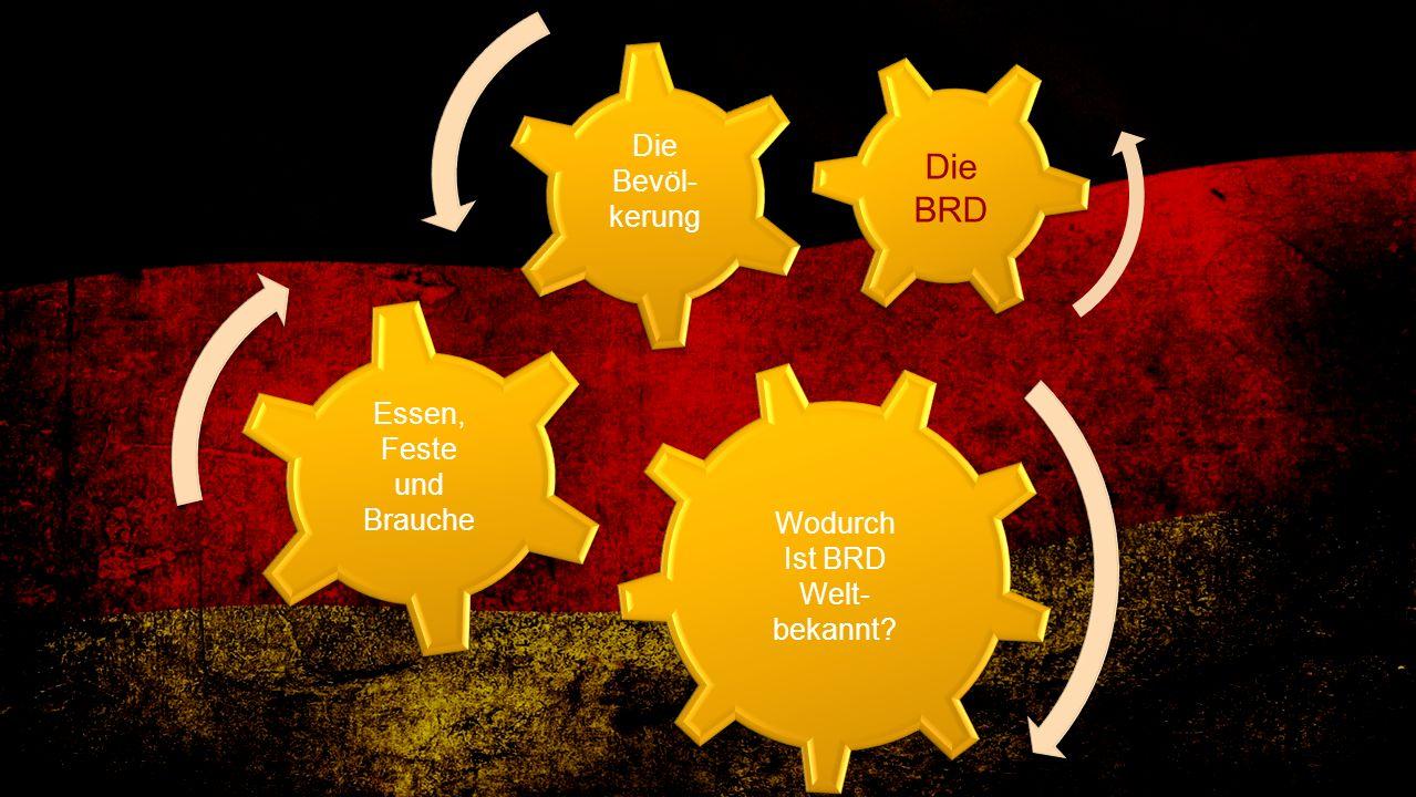 Die BRD Wodurch Ist BRD Welt- bekannt? Die Bevöl- kerung Essen, Feste und Brauche