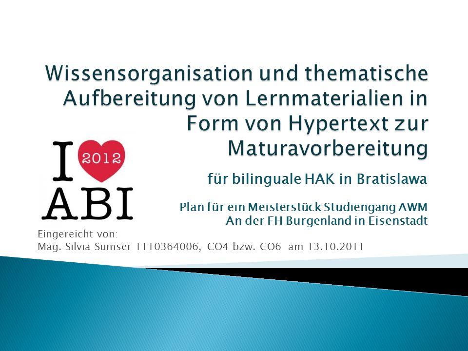 für bilinguale HAK in Bratislawa Plan für ein Meisterstück Studiengang AWM An der FH Burgenland in Eisenstadt Eingereicht von: Mag. Silvia Sumser 1110