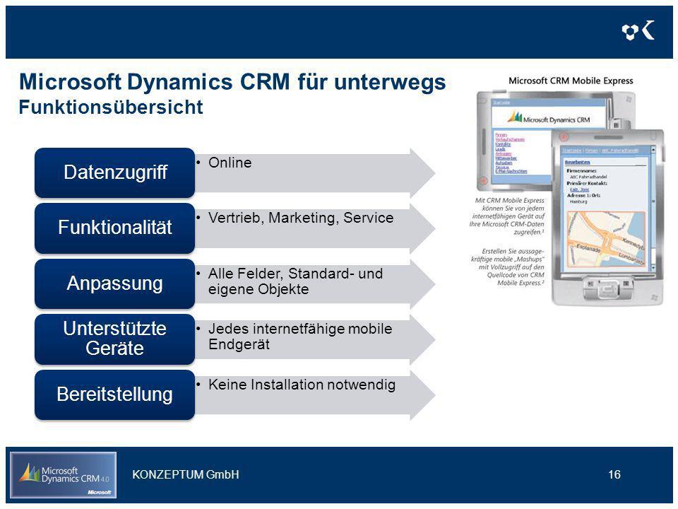 Microsoft Dynamics CRM für unterwegs Funktionsübersicht 16 Marketingkampagnen Unterstützung von der Planung über die Durchführung bis zur Erfolgsbewer