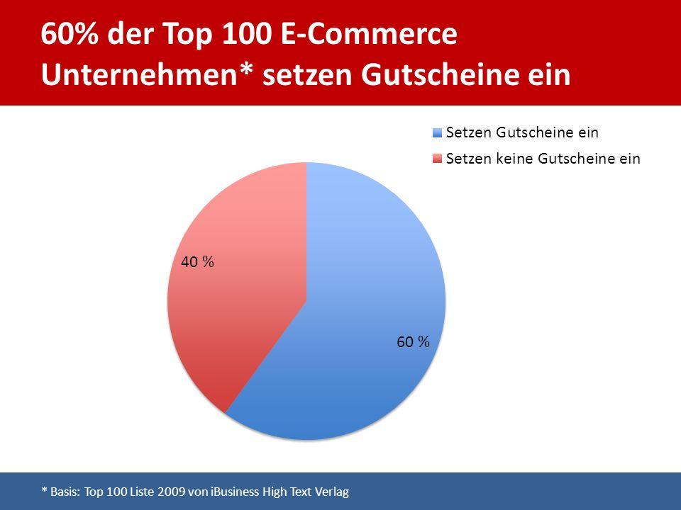 60% der Top 100 E-Commerce Unternehmen* setzen Gutscheine ein * Basis: Top 100 Liste 2009 von iBusiness High Text Verlag