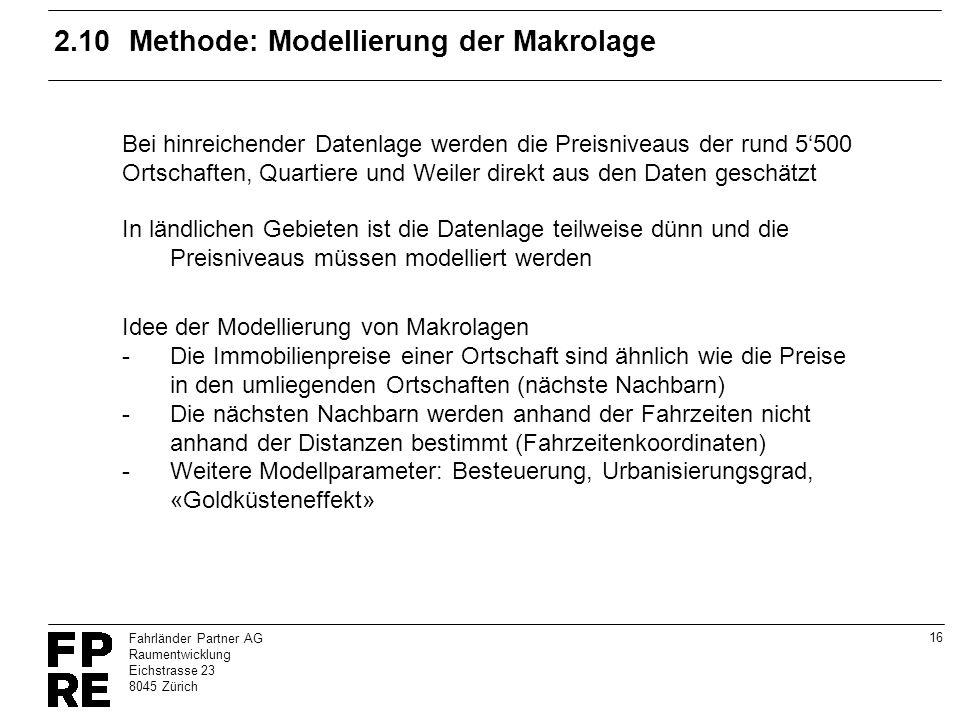 16 Fahrländer Partner AG Raumentwicklung Eichstrasse 23 8045 Zürich 2.10Methode: Modellierung der Makrolage Bei hinreichender Datenlage werden die Pre