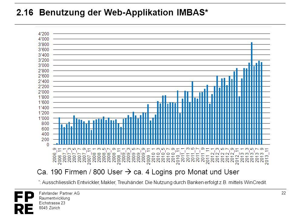 22 Fahrländer Partner AG Raumentwicklung Eichstrasse 23 8045 Zürich 2.16Benutzung der Web-Applikation IMBAS* * : Ausschliesslich Entwickler, Makler, T