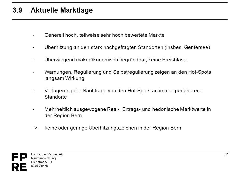 32 Fahrländer Partner AG Raumentwicklung Eichstrasse 23 8045 Zürich 3.9Aktuelle Marktlage -Generell hoch, teilweise sehr hoch bewertete Märkte -Überhi