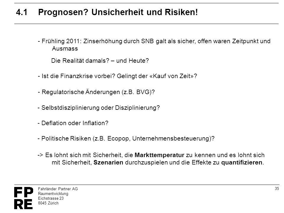 35 Fahrländer Partner AG Raumentwicklung Eichstrasse 23 8045 Zürich 4.1Prognosen? Unsicherheit und Risiken! - Frühling 2011: Zinserhöhung durch SNB ga