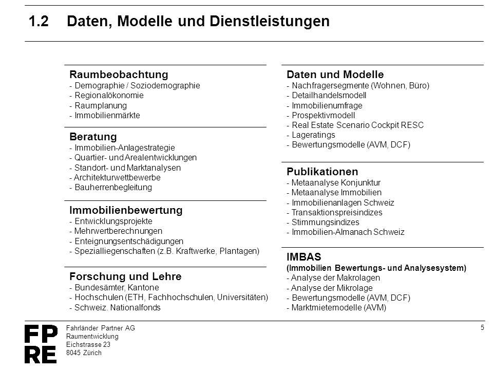 5 Fahrländer Partner AG Raumentwicklung Eichstrasse 23 8045 Zürich 1.2Daten, Modelle und Dienstleistungen Immobilienbewertung - Entwicklungsprojekte -