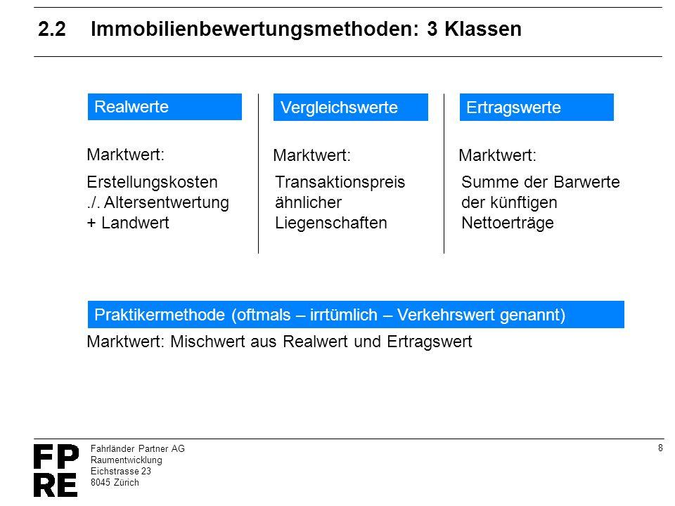 8 Fahrländer Partner AG Raumentwicklung Eichstrasse 23 8045 Zürich 2.2Immobilienbewertungsmethoden: 3 Klassen Realwerte Erstellungskosten./. Altersent