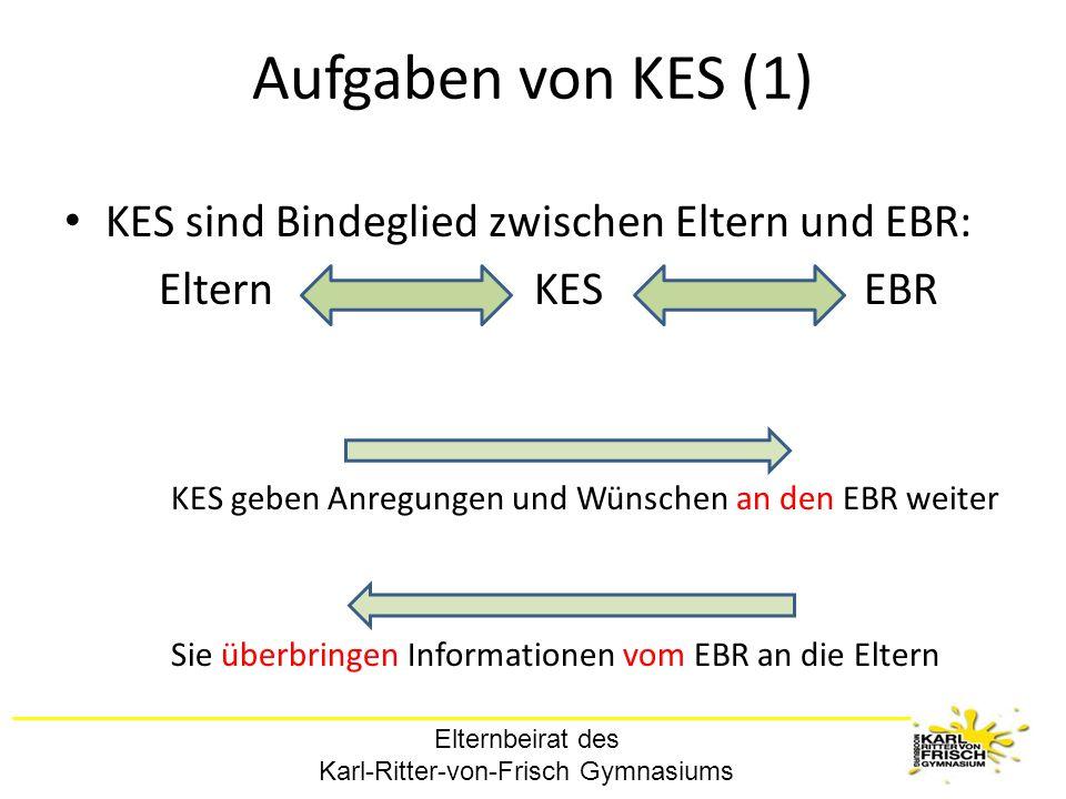 Elternbeirat des Karl-Ritter-von-Frisch Gymnasiums Aufgaben von KES (1) KES sind Bindeglied zwischen Eltern und EBR: Eltern KES EBR KES geben Anregung