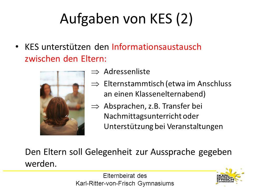 Elternbeirat des Karl-Ritter-von-Frisch Gymnasiums Aufgaben von KES (2) KES unterstützen den Informationsaustausch zwischen den Eltern: Adressenliste