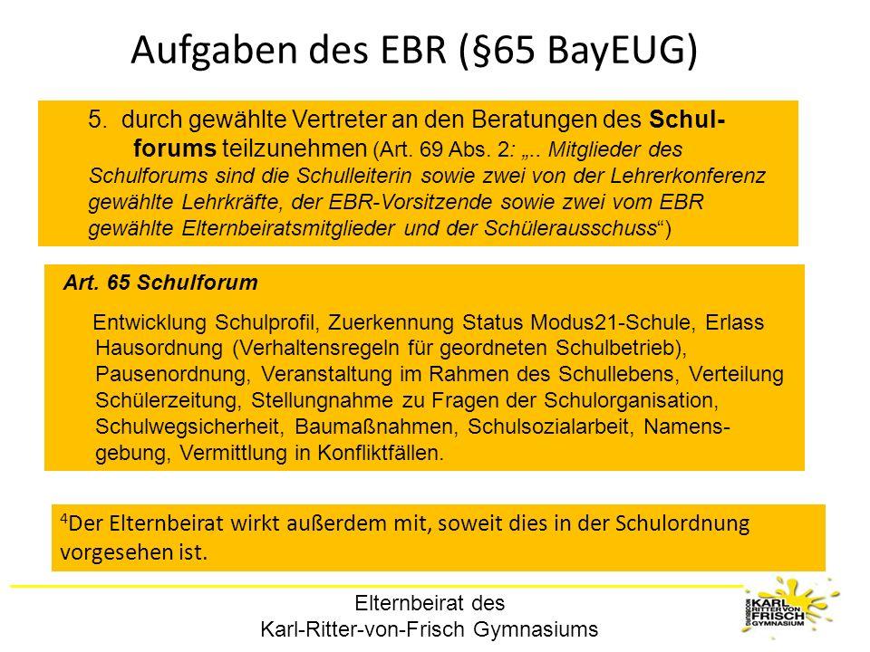 Elternbeirat des Karl-Ritter-von-Frisch Gymnasiums Aufgaben des EBR (§65 BayEUG) 5. durch gewählte Vertreter an den Beratungen des Schul- forums teilz