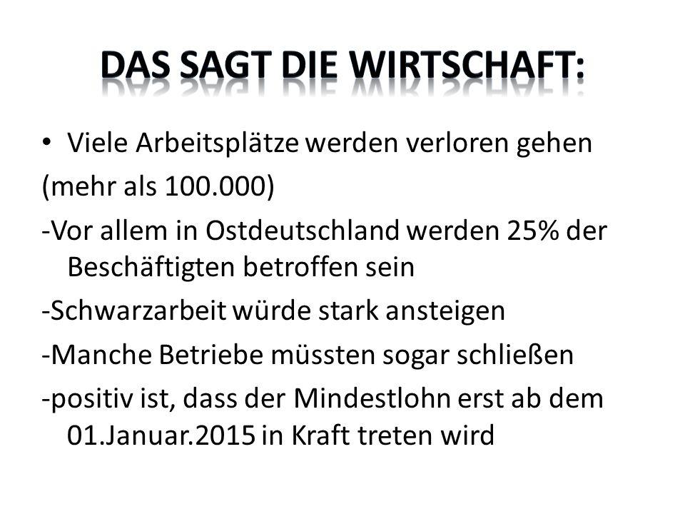 Viele Arbeitsplätze werden verloren gehen (mehr als 100.000) -Vor allem in Ostdeutschland werden 25% der Beschäftigten betroffen sein -Schwarzarbeit würde stark ansteigen -Manche Betriebe müssten sogar schließen -positiv ist, dass der Mindestlohn erst ab dem 01.Januar.2015 in Kraft treten wird