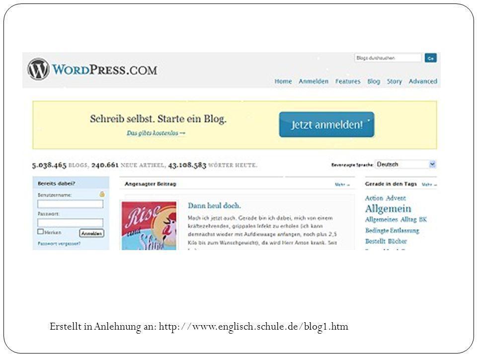 Erstellt in Anlehnung an: http://www.englisch.schule.de/blog1.htm