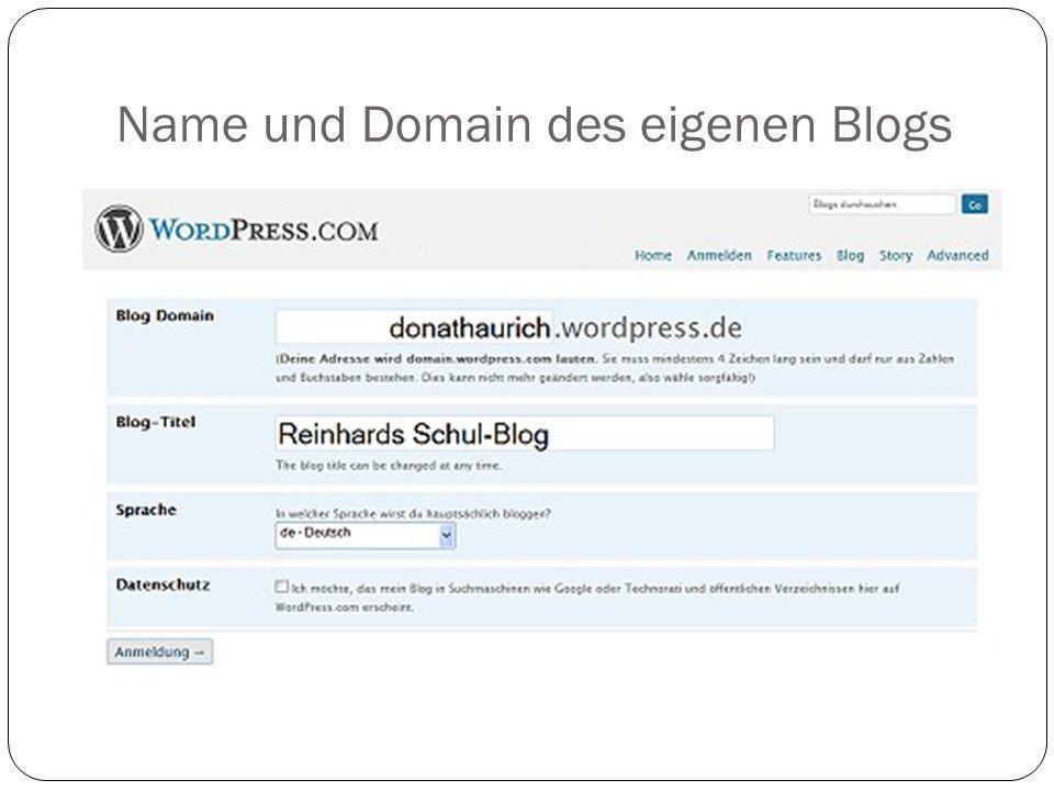 Name und Domain des eigenen Blogs