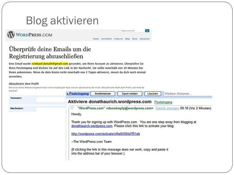 Blog aktivieren