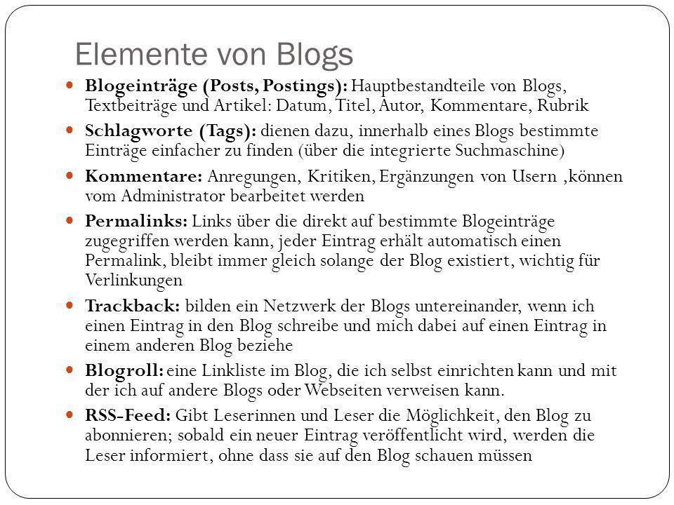 Elemente von Blogs Blogeinträge (Posts, Postings): Hauptbestandteile von Blogs, Textbeiträge und Artikel: Datum, Titel, Autor, Kommentare, Rubrik Schl