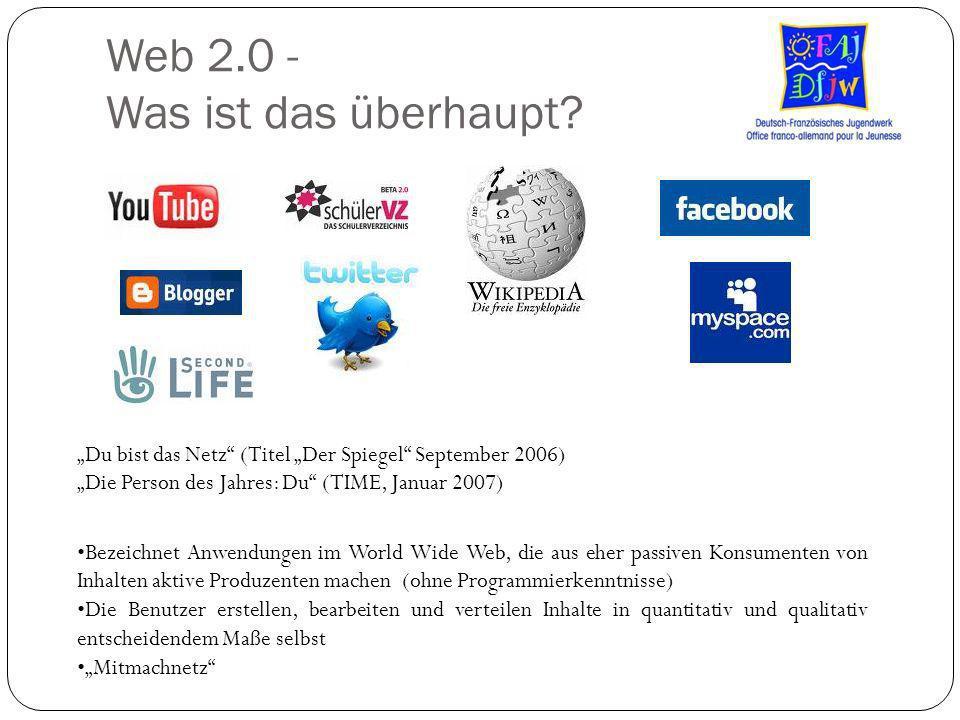 Web 2.0 - Was ist das überhaupt? Du bist das Netz (Titel Der Spiegel September 2006) Die Person des Jahres: Du (TIME, Januar 2007) Bezeichnet Anwendun