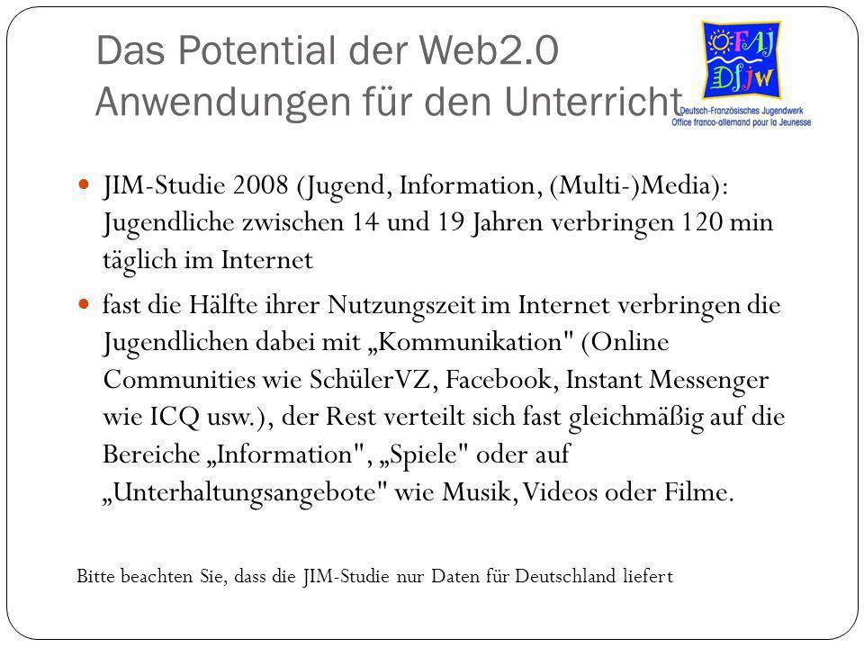 Das Potential der Web2.0 Anwendungen für den Unterricht JIM-Studie 2008 (Jugend, Information, (Multi-)Media): Jugendliche zwischen 14 und 19 Jahren ve