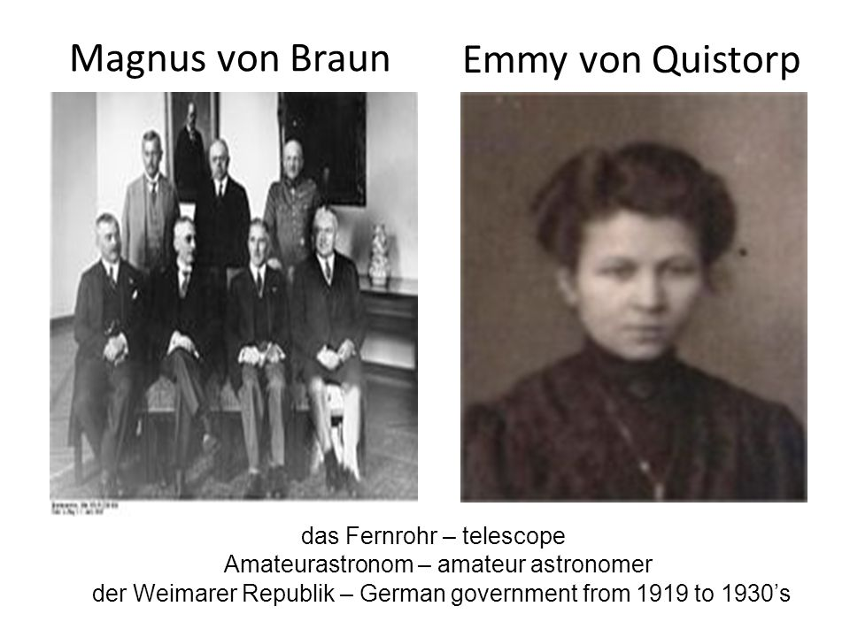 Magnus von Braun Emmy von Quistorp das Fernrohr – telescope Amateurastronom – amateur astronomer der Weimarer Republik – German government from 1919 t