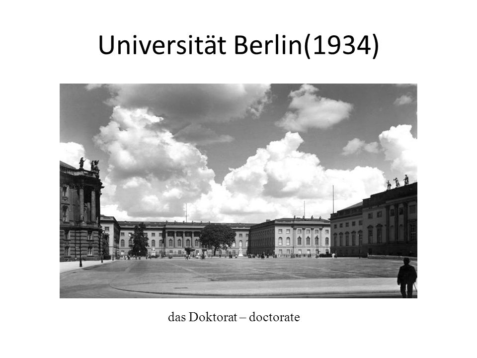 Universität Berlin(1934) das Doktorat – doctorate