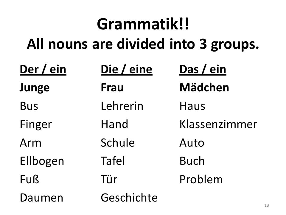 Grammatik!.All nouns are divided into 3 groups.