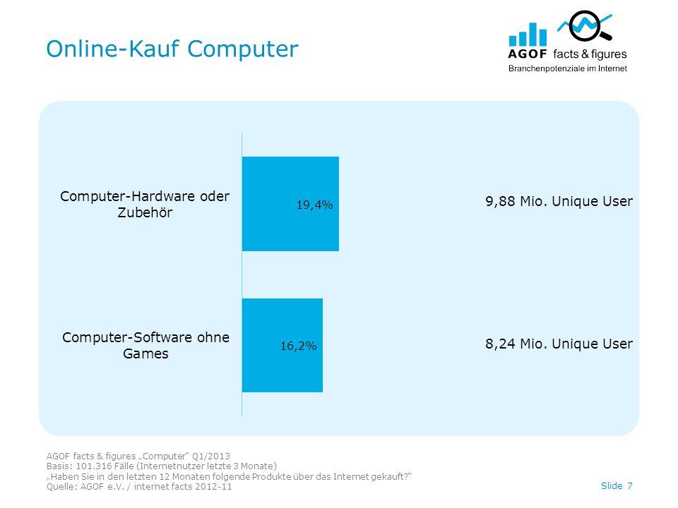 Online-Kauf Computer AGOF facts & figures Computer Q1/2013 Basis: 101.316 Fälle (Internetnutzer letzte 3 Monate) Haben Sie in den letzten 12 Monaten folgende Produkte über das Internet gekauft.