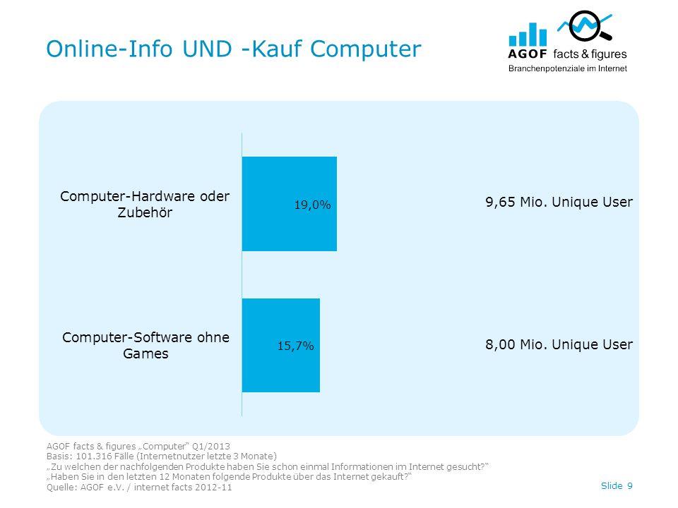Online-Info UND -Kauf Computer AGOF facts & figures Computer Q1/2013 Basis: 101.316 Fälle (Internetnutzer letzte 3 Monate) Zu welchen der nachfolgenden Produkte haben Sie schon einmal Informationen im Internet gesucht.