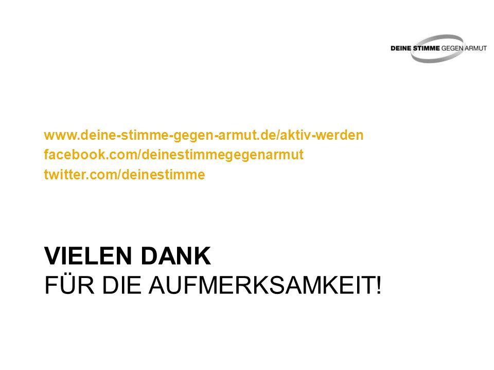 VIELEN DANK FÜR DIE AUFMERKSAMKEIT! www.deine-stimme-gegen-armut.de/aktiv-werden facebook.com/deinestimmegegenarmut twitter.com/deinestimme