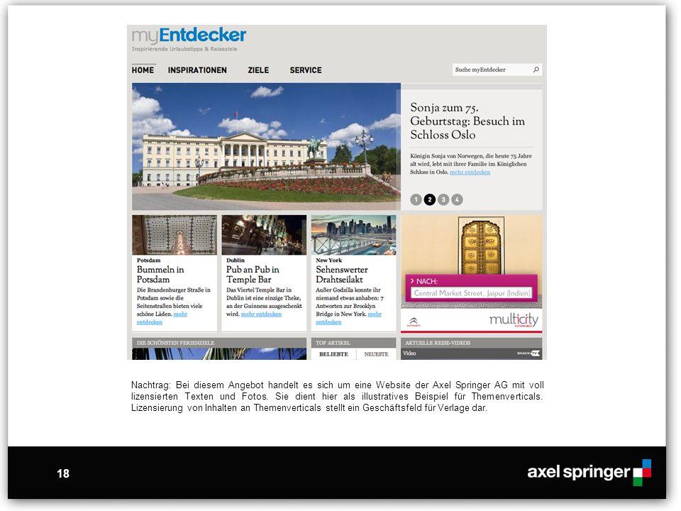 18 Nachtrag: Bei diesem Angebot handelt es sich um eine Website der Axel Springer AG mit voll lizensierten Texten und Fotos. Sie dient hier als illust