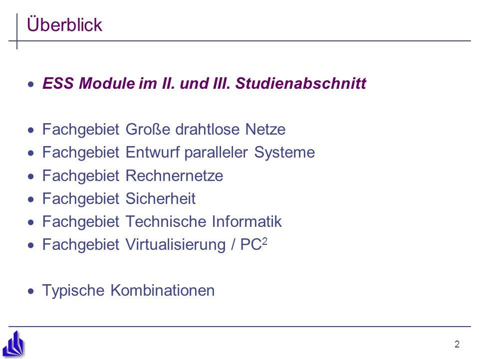 2 Überblick ESS Module im II. und III. Studienabschnitt Fachgebiet Große drahtlose Netze Fachgebiet Entwurf paralleler Systeme Fachgebiet Rechnernetze