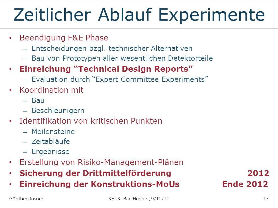 Zeitlicher Ablauf Experimente Beendigung F&E Phase – Entscheidungen bzgl. technischer Alternativen – Bau von Prototypen aller wesentlichen Detektortei