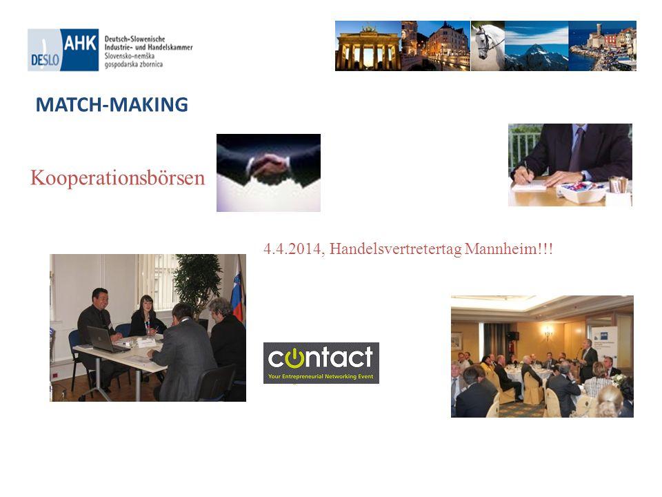 Kooperationsbörsen MATCH-MAKING 4.4.2014, Handelsvertretertag Mannheim!!!
