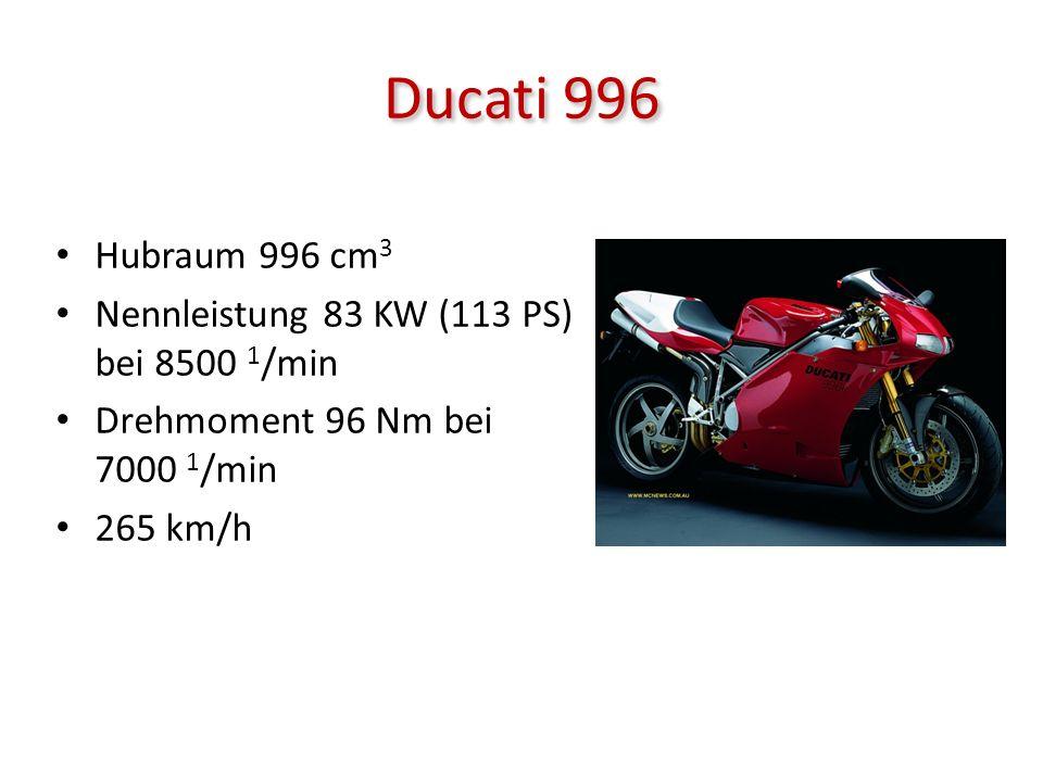 Ducati 996 Hubraum 996 cm 3 Nennleistung 83 KW (113 PS) bei 8500 1 /min Drehmoment 96 Nm bei 7000 1 /min 265 km/h
