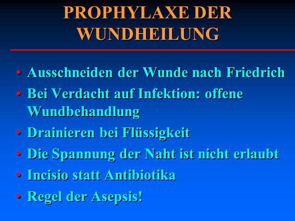 PROPHYLAXE DER WUNDHEILUNG Ausschneiden der Wunde nach Friedrich Bei Verdacht auf Infektion: offene Wundbehandlung Drainieren bei Flüssigkeit Die Span