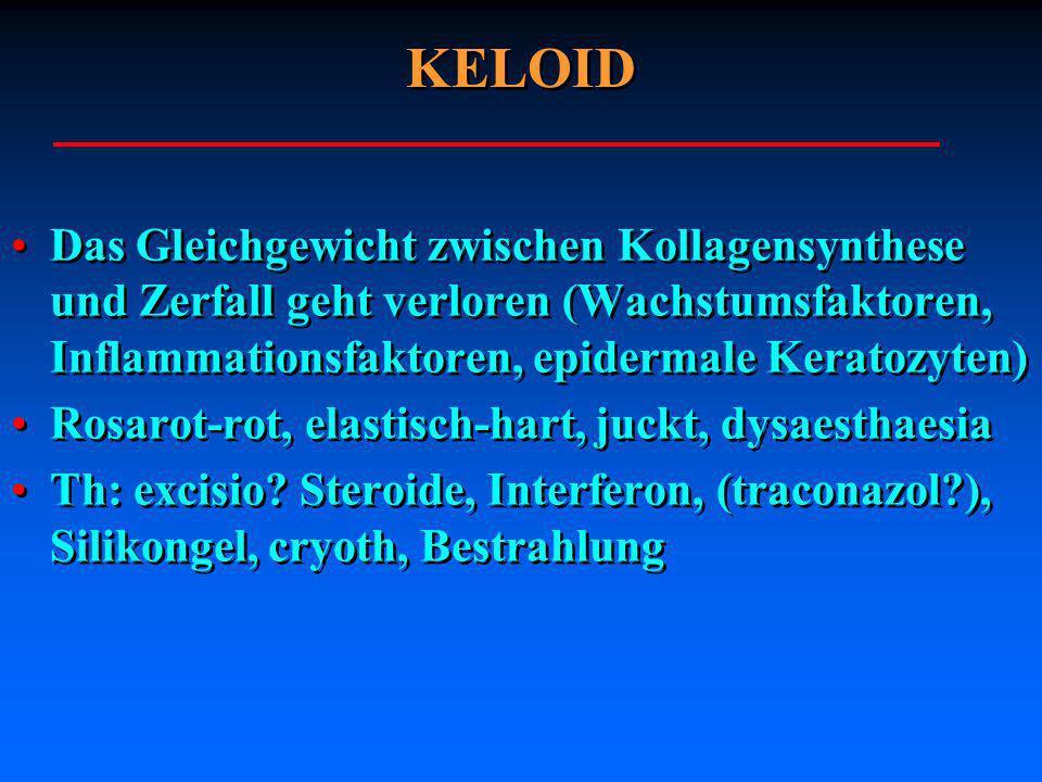 KELOID Das Gleichgewicht zwischen Kollagensynthese und Zerfall geht verloren (Wachstumsfaktoren, Inflammationsfaktoren, epidermale Keratozyten) Rosaro