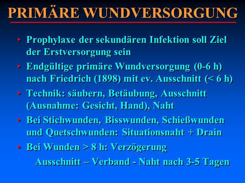 PRIMÄRE WUNDVERSORGUNG Prophylaxe der sekundären Infektion soll Ziel der Erstversorgung sein Endgültige primäre Wundversorgung (0-6 h) nach Friedrich