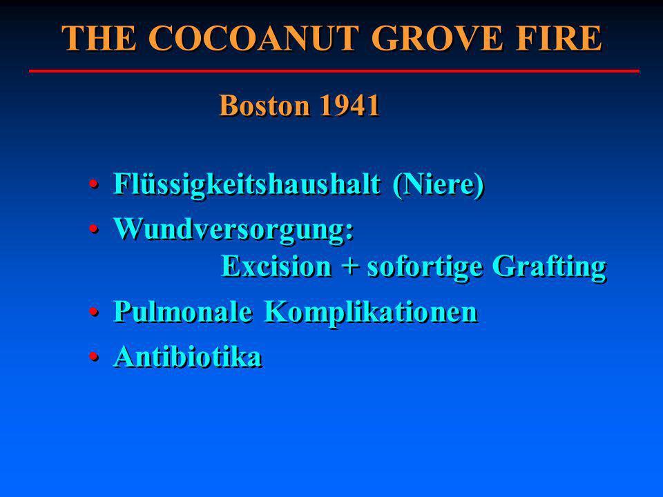 THE COCOANUT GROVE FIRE Boston 1941 Flüssigkeitshaushalt (Niere) Wundversorgung: Excision + sofortige Grafting Pulmonale Komplikationen Antibiotika Fl