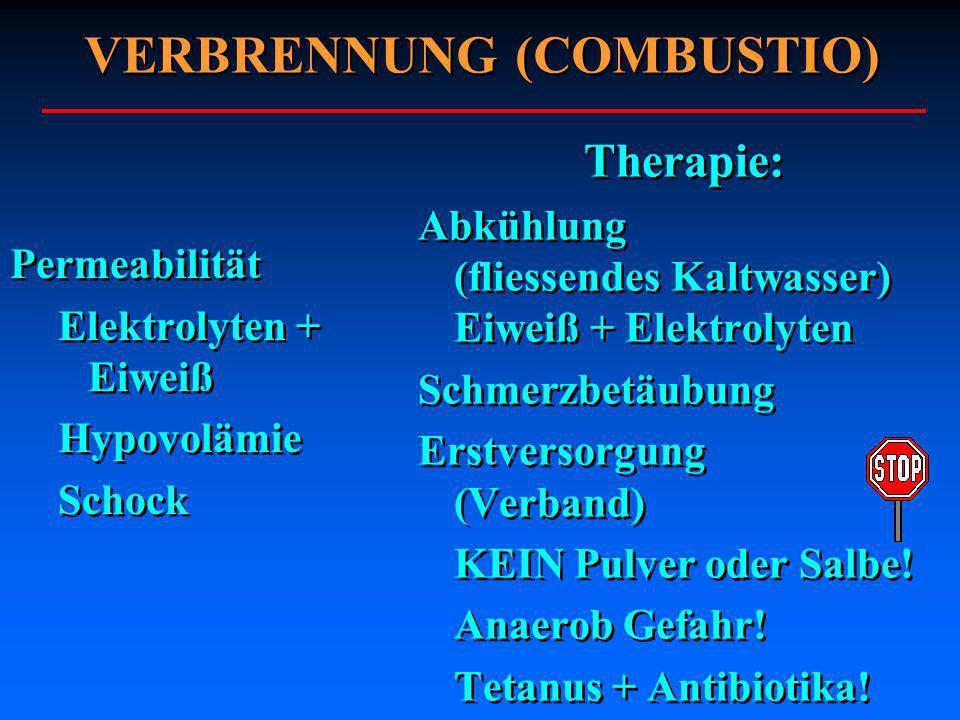Permeabilität Elektrolyten + Eiweiß Hypovolämie Schock Permeabilität Elektrolyten + Eiweiß Hypovolämie Schock Therapie: Abkühlung (fliessendes Kaltwas