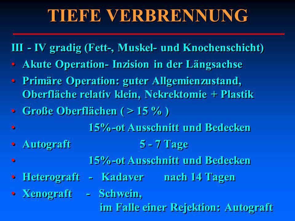 TIEFE VERBRENNUNG III - IV gradig (Fett-, Muskel- und Knochenschicht) Akute Operation- Inzision in der Längsachse Primäre Operation: guter Allgemienzu
