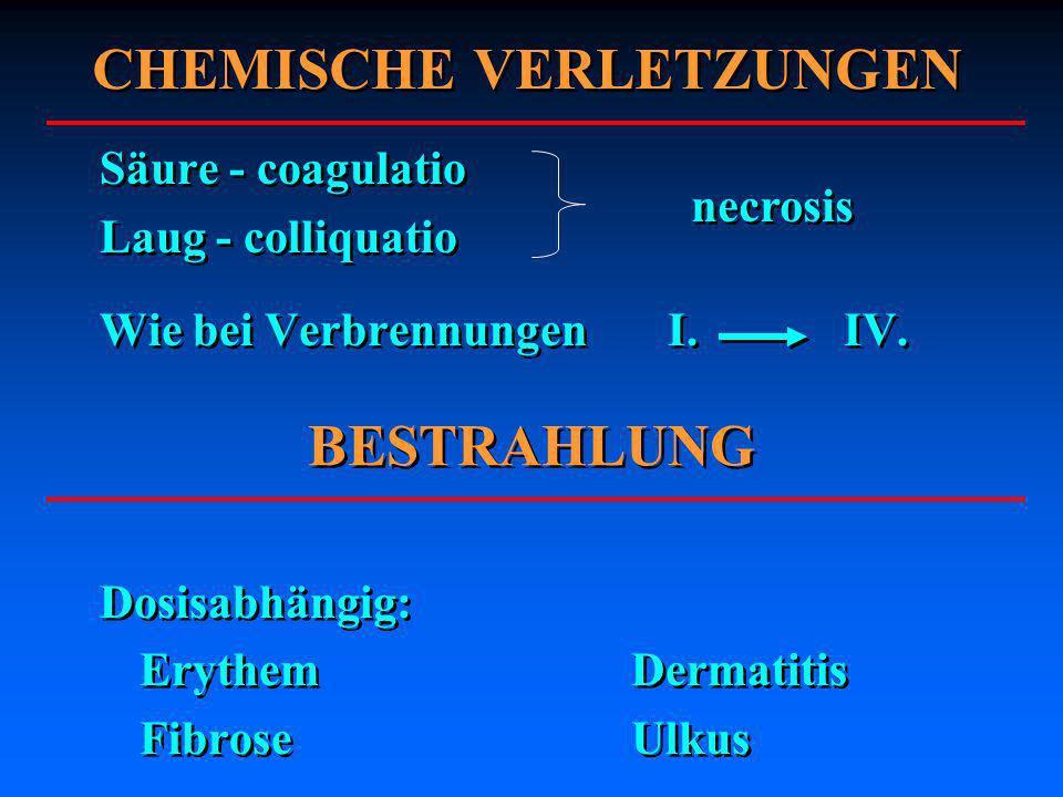 Säure - coagulatio Laug - colliquatio Wie bei Verbrennungen I. IV. Dosisabhängig: ErythemDermatitis FibroseUlkus Säure - coagulatio Laug - colliquatio