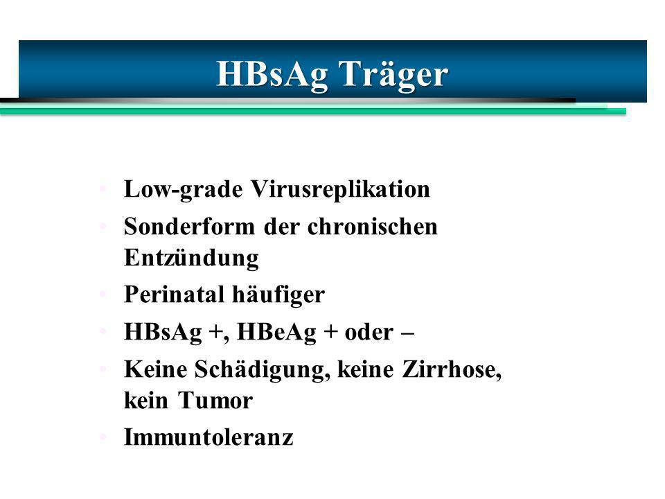 HBsAg Träger Low-grade Virusreplikation Sonderform der chronischen Entzündung Perinatal häufiger HBsAg +, HBeAg + oder – Keine Schädigung, keine Zirrh