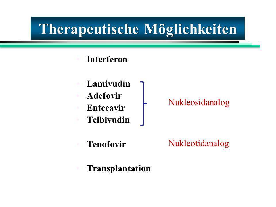 Interferon Lamivudin Adefovir Entecavir Telbivudin Tenofovir Transplantation Therapeutische Möglichkeiten Nukleosidanalog Nukleotidanalog